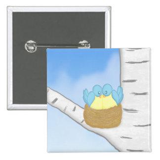 Blue Birds in Nest Magnet Button