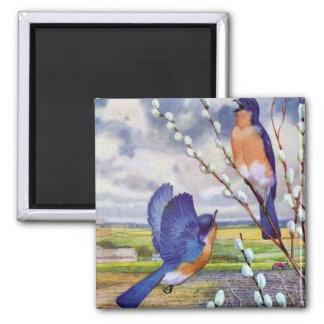 Blue Birds 2 Inch Square Magnet