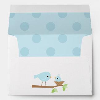 Blue Birds Nest Baby Shower Envelope