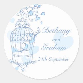 Blue birds open cage wedding sticker