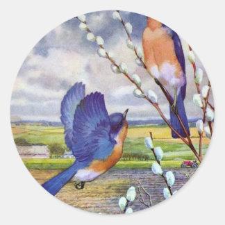 Blue Birds Round Stickers