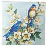 "Blue Birds Tile<br><div class=""desc"">Vintage Image of Blue Birds &amp; White Flower Blossoms on Tile</div>"
