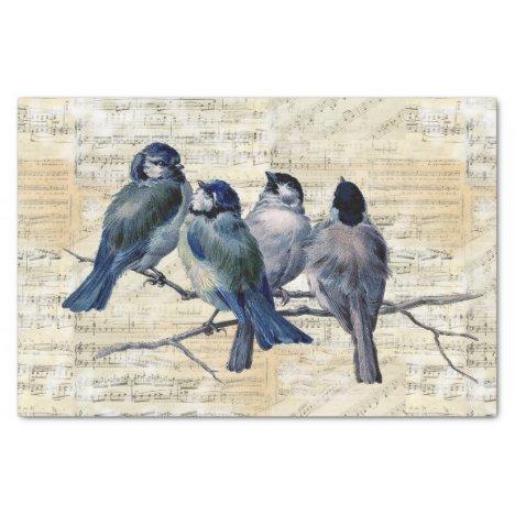Blue Birds Vintage Sheet Music Tissue Paper
