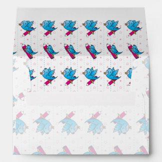 Blue Birdy Bird and Pencil Pattern Envelope