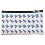 Blue Birdy Bird and Pencil Pattern Makeup Bags