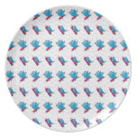 Blue Birdy Bird and Pencil Pattern Party Plates