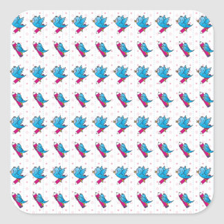Blue Birdy Bird and Pencil Pattern Stickers
