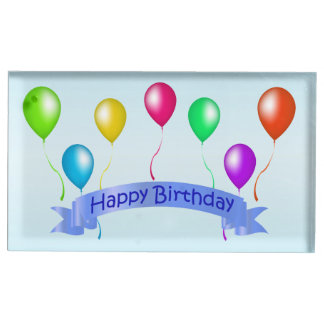 Blue Birthday Banner Bright Colorful Balloons Table Card Holder