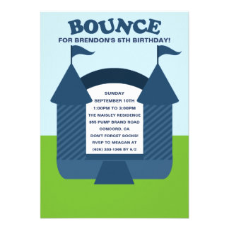 Blue Birthday Bounce Bouncy House Birthday Party Personalized Invitation