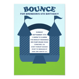 Blue Birthday Bounce Bouncy House Birthday Party 5x7 Paper Invitation Card
