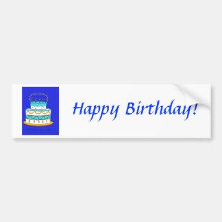 Blue Birthday Cake Bumper Sticker