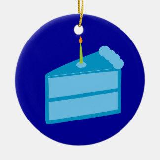 Blue Birthday Cake Christmas Ornaments