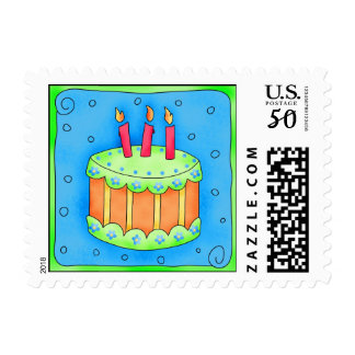 Blue Birthday Cake Postage Stamp