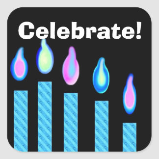 Blue Birthday Candles - Celebrate! Square Sticker