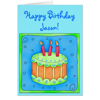 Blue Birthday Card with Cake