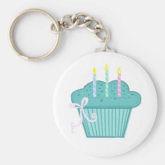 Blue Birthday Cupcake Key Chain