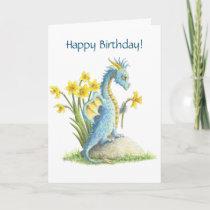 Blue Birthday Dragon card
