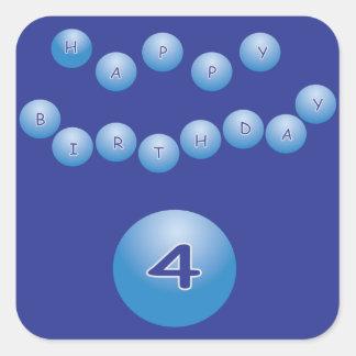 Blue Birthday for Boy Age 4 Square Sticker