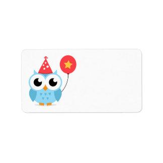 Blue birthday party owl with balloon blank custom address label