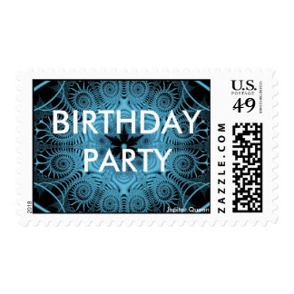Blue-BIRTHDAY PARTY Postage Stamps