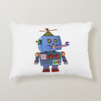 Blue birthday party toy robot accent pillow