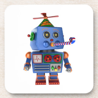 Blue birthday party toy robot beverage coaster