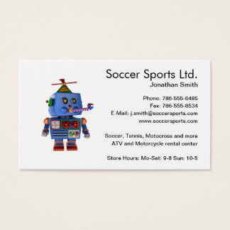 Blue birthday party toy robot business card