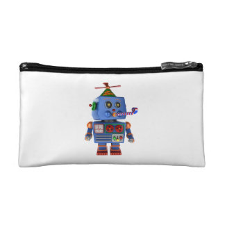Blue birthday party toy robot cosmetic bag