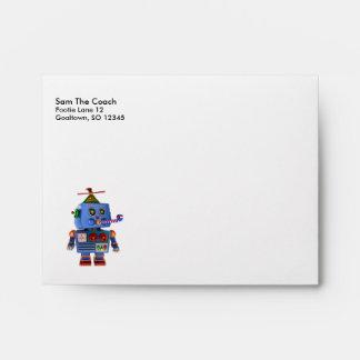 Blue birthday party toy robot envelope