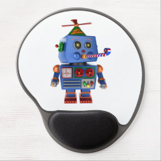 Blue birthday party toy robot gel mouse pad