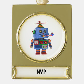 Blue birthday party toy robot gold plated banner ornament
