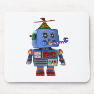 Blue birthday party toy robot mouse pad