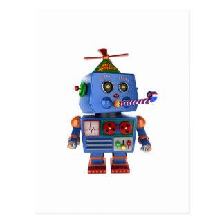 Blue birthday party toy robot postcard