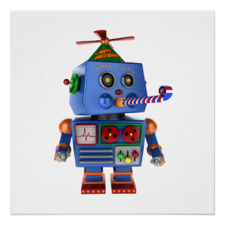 Blue birthday party toy robot poster