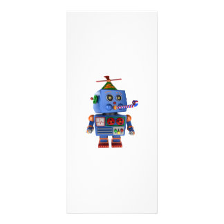 Blue birthday party toy robot rack card