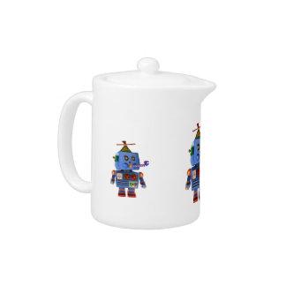 Blue birthday party toy robot teapot