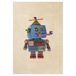Blue birthday party toy robot wood poster