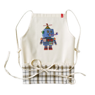 Blue birthday party toy robot zazzle HEART apron