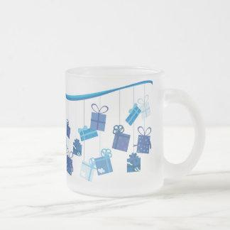 Blue Birthday Presents Frosted Glass Coffee Mug