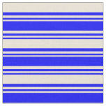 [ Thumbnail: Blue & Bisque Colored Lines Fabric ]