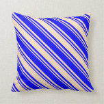[ Thumbnail: Blue & Bisque Colored Lines Throw Pillow ]