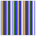 [ Thumbnail: Blue, Bisque, Coral, Green & Black Stripes Fabric ]