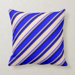 [ Thumbnail: Blue, Bisque, Purple & Black Colored Lines Pillow ]