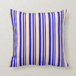[ Thumbnail: Blue & Bisque Stripes/Lines Pattern Throw Pillow ]