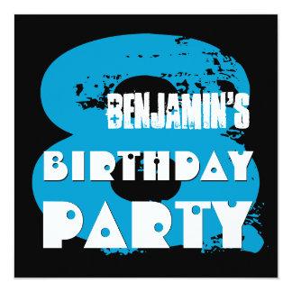 BLUE BLACK 8th Birthday Party 8 Year Old V11A1 Card