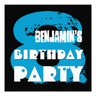 BLUE BLACK 8th Birthday Party 8 Year Old V11A1 Personalized Invite
