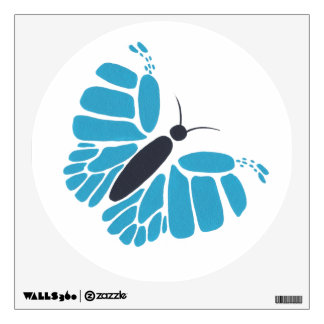 Blue black abstract butterfly flying wall decal