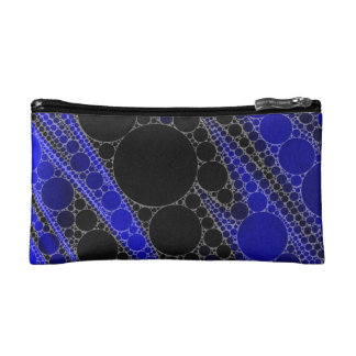 Blue Black Abstract Pattern Cosmetic Bag