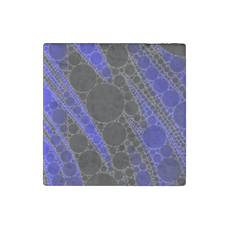 Blue Black Abstract Pattern Stone Magnet
