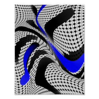 Blue Black Abstract Weave Poster
